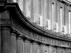 Circus curves, Bath (archidave) Tags: city uk england urban blackandwhite bw detail stone architecture circle bath circus pillar frieze classical georgian column curve doric ionic cornice