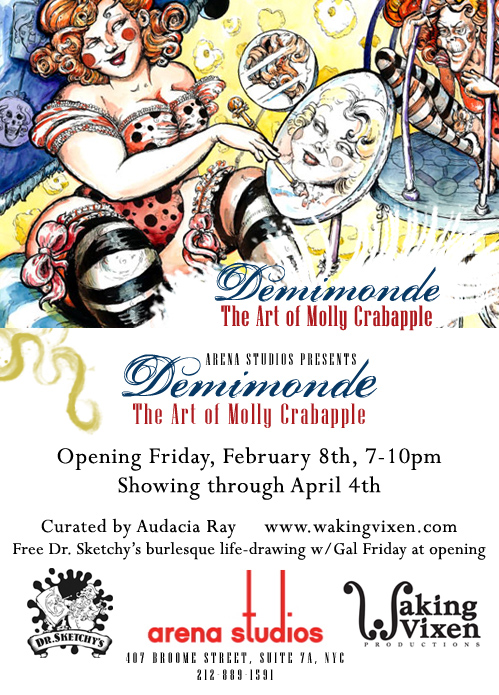 Flyer for Molly Crabapple's solo show at Arena Studios