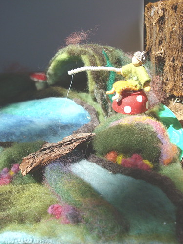 Waldorf Needle felted playscape and fishing gnome