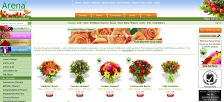 Arena Flowers homepage