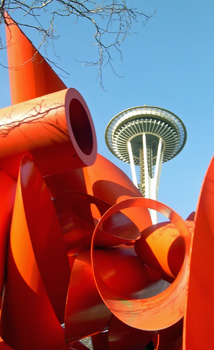 Space Needle and sculpture