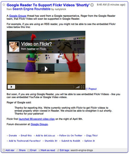 Flickr Videos in Google Reader