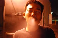 Smoking Outside of Bad Sushi Restaurant in West LA (vonspector) Tags: night la los angeles cigarette smoke smoking filipino