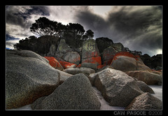 Tinge of Red (Mark-of-Cain) Tags: trip red holiday rock fire bay australia tasmania tas hdr