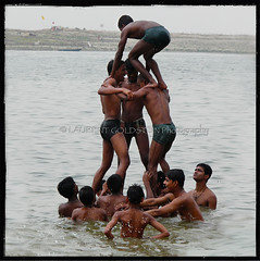 Human Pyramid (designldg) Tags: people india man male water smile youth river square atmosphere happiness soul varanasi kashi ganga ganges benares benaras uttarpradesh  corporeal indiasong thebestofday gnneniyisi
