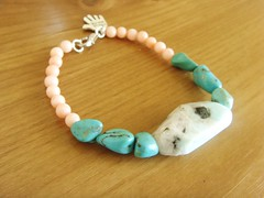 Amazonite, Turquoise and Coral bracelet (Betty1553) Tags: pink orange green bird yellow vintage silver antique turquoise cream jewellery mauve pearl amethyst gemstones swarovskicrystal citrine labradorite semiprecious folksy rosequartz redcoral lapislazuli rainbowrocks luciteflowers