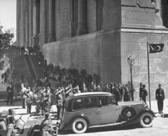 King Farouk Leaving El-Rifai Mosque 3 (Kodak Agfa) Tags: africa people history 1930s king egypt el mosque farouk east cairo 1940s 1950s middle royalty rf mideast arriving timeincown rifai kingfarouk egyptianroyalfamily mohamedaliroyalfamily 680305