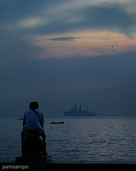 Thinking Of You (pamsampo) Tags: sunset sea alone sony philippines baywalk sonycybershot roxasblvd sonyh7 pamsampo