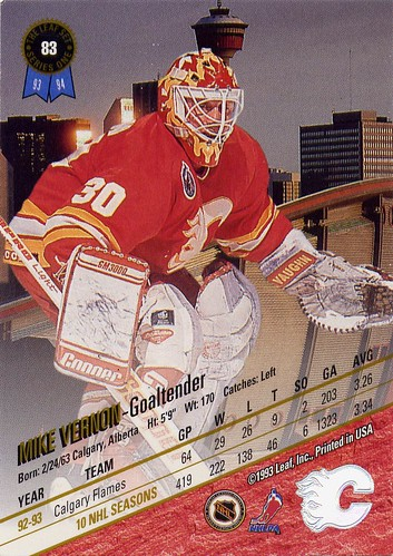 Calgary Flames, Mike Vernon, Leaf, 93-94, NHL, goalie, calgary, ugly