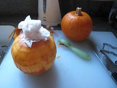 peeling pumpkins
