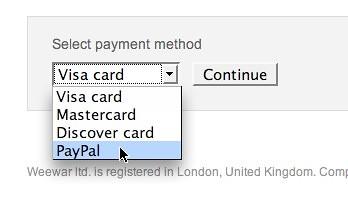Weewar does PayPal