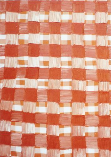 This Shu-iro checked pattern is this Shu-iro checked Pattern.|この朱色の格子模様は、この朱色の格子模様である。