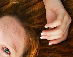 Bits n' Pieces (kkelly2007) Tags: blue red portrait orange green eye girl eyes hands hand fingers crop fingernails cropped freckles freckled