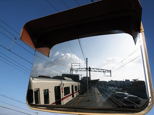The train reflected to the mirror<br />