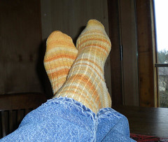 Handspun, hand-cranked socks