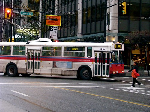 Bus turning onto Howe St.