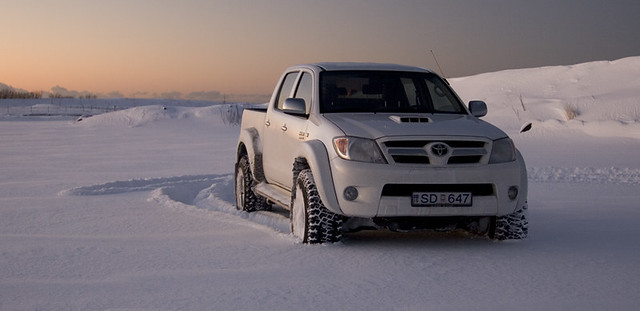sunset white snow cold iceland toyota hilux