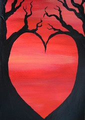 Red Heart - a hand-painted card (Sneddonia) Tags: uk red orange black tree art silhouette contrast painting paint heart gothic goth card etsy opticalillusion acrylics catchycolorsred valentinescard sneddonia etsydarkteam