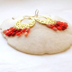 Sunset Dreams Hoop Earrings (ccdesign) Tags: pink red orange coral handmade jewelry earrings hoops goldtone ccdesign filiree