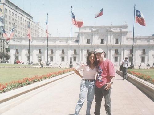 Junto a Lisset en el Palacio de La Moneda en Santiago de Chile