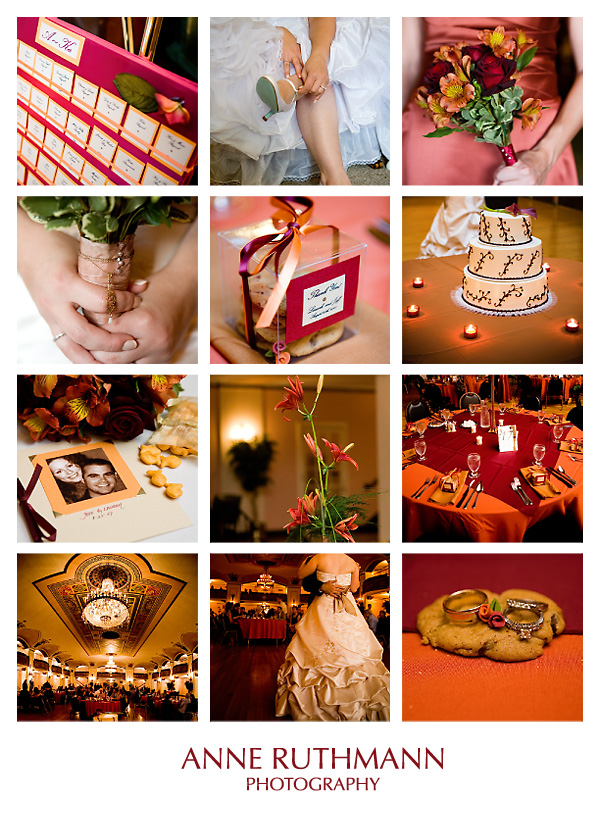 Burgundy Orange Real Wedding Details, Flowers, Decor