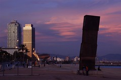 Sunset at Barcelona's beach (rabataller) Tags: barcelona sunset red beach silhouette architecture buildings edificios playa catalonia arena barceloneta puestadesol silueta aplusphoto rabataller theperfectphotographer goldstaraward