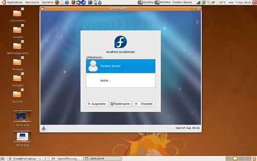 Ecran de connexion de la Fedora 9
