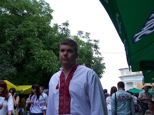 Greg wearing a vyshyvanka