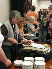 Meg Swanson cutting Elizabeth Zimmerman BD cake2