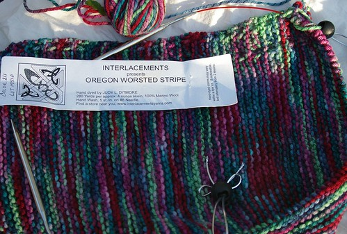 Durable Triangle of Interlacements Oregon Worsted Stripe, first half