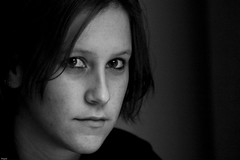 Afke (Thijsch) Tags: portrait white black girl face canon eos 300d portret bwdreams 123bw afke teistert thijsch