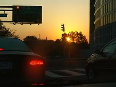 Rush Hour Lights (virginiapoet) Tags: trafficlights sunrise traffic rushhour washingtonmonument carlights