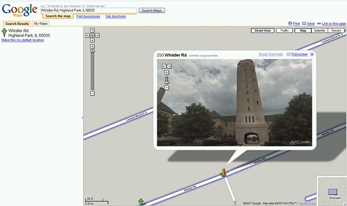 Fort Sheridan Tower as seen on Google Maps