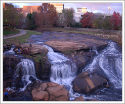 The falls near Liberty Bridge in Greenville, South Carolina.