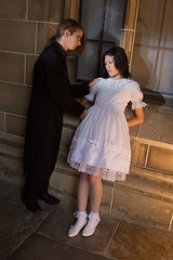A gentleman finds a doll. (neilcreek) Tags: white black cute window fashion stone shoot dress cosplay sweet bricks lolita tophat annie egl gothlic blog071210