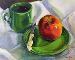 """Snack"" - SOLD (vaught_celeste) Tags: life red green art apple still acrylic fiesta paintings dishes shamrock fiestaware celeste vaught shamrockgreen"