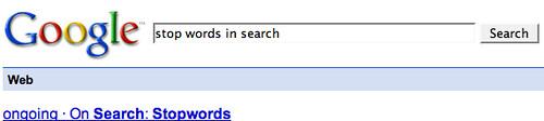 Google Stop Words Message Gone