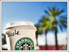 Morning Coffee (i ea sars) Tags: california blue trees summer sky usa beach cup coffee sunshine cali america canon logo nicole cafe