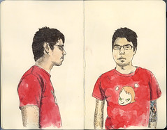 yoshitomo nara t shirt and me (Wil Freeborn) Tags: wil moleskine sketch freeborn