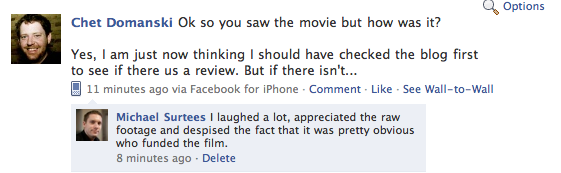 Chet & me on Facebook about the film