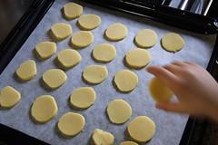 オーブンの皿に並べる(クッキーづくり)