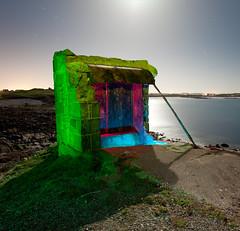 Light shelter (Pikebubbles) Tags: longexposure lightpainting color colour art colors night dark concrete paint colours guernsey