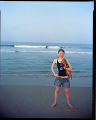 Lauren & Strudel on Virginia Beach (mat4226) Tags: ocean b sunset summer cute lauren film beach girl puppy photography virginia diy warm kodak adorable wideangle dachshund 8x10 commercial va 100 eastman swimsuit f8 vignette fujinon largeformat strudel eastcoast dapple ektar bagley c41 f58 210mm tetenal homedevelopment homeprocessing laurenbagley believeinfilm