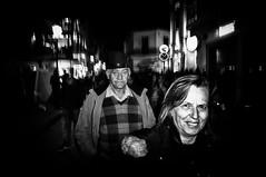 Surrounded by shadows (Spyros Papaspyropoulos) Tags: street nightphotography carnival light portrait blackandwhite bw woman man monochrome night mono shadows nightshot faces candid streetphotography streetportrait flashpho