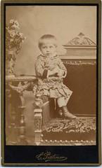 Little Girl on Chair (josefnovak33) Tags: old girl vintage de child photograph visite carte