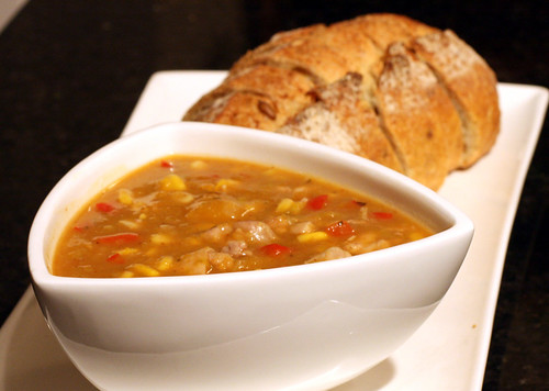 hearty winter soup, with pumpkin seed demi-loaf