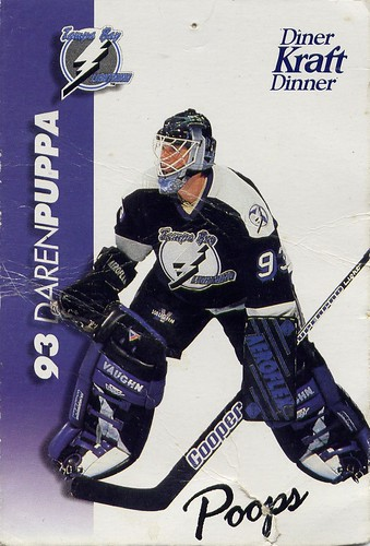 Daren Puppa, Tampa Bay Lightning, Kraft Dinner, hockey cards, 94-95, masked defenders
