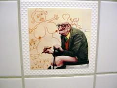 man at the Pelikan (trepelu) Tags: pee sex tile bathroom pub satire kacheln fliesen cartoon toilet toilette klo caricature pelikan pissing peeing karikatur geezer gasthaus pooping dirtyoldman pinkeln bamberggermany mensurinals manfreddeix sandstr cleanoldman