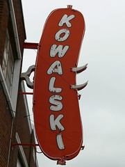 Closeup of sign for the Kowalski Hot Dog Plant in Hamtramck (DetroitDerek Photography ( ALL RIGHTS RESERVED )) Tags: red food usa plant sign digital america lumix hotdog cool midwest downtown neon hamtramck michigan ad sausage fork polish icon meat historic panasonic advertisement local holbrook 1920 2007 313 detriot motown kielbasa dmcfz30