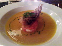 Butternut squash veloute with roasted king prawns